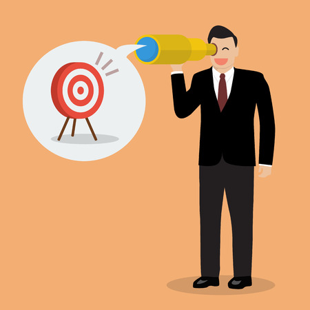 looking for: Businessman looking for business target. Business vision Illustration