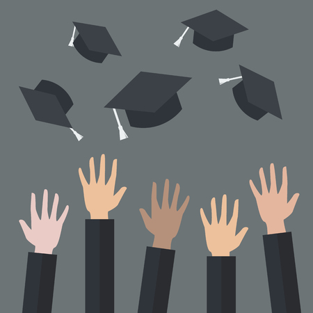 Hands of graduates throwing graduation hats in the air. Concept of education