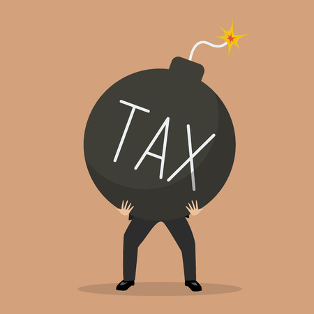 issue: businessman bearing tax bomb. Business crisis concept