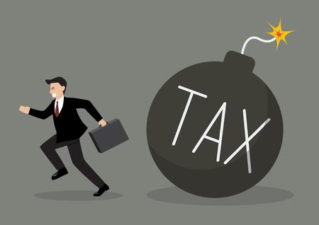 run away: Businessman run away from tax bomb. Business finance concept