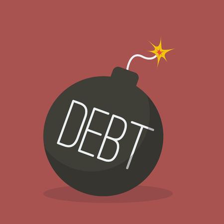 bomb threat: Debt bomb with sparkle. Flat design style