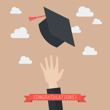 throwing: Hand of graduate throwing graduation hats in the air. Concept of education Illustration