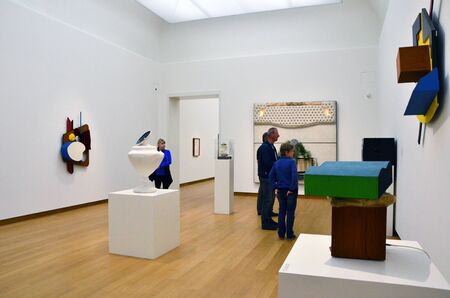 museum visit: Amsterdam, Netherlands - May 6, 2015: People visit Exhibition in Stedelijk Museum in Amsterdam located in the museum park, Netherlands on May 6, 2015