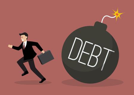run away: Businessman run away from debt bomb. Business finance concept