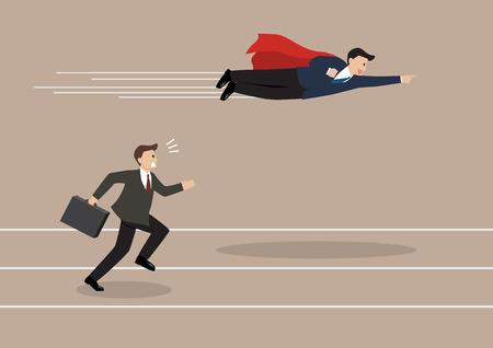 competencia: El hombre de negocios mosca superhéroe pasar su competidor. Concepto de competencia empresarial
