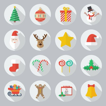 long: Christmas Flat Icon With Long Shadow Set Illustration