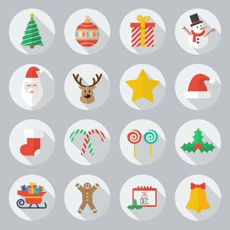 reno: Icono plana de Navidad con el conjunto de Sombra Larga