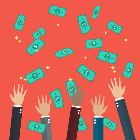 throwing: Hands raised throwing and catching money in the air. Flat style design Illustration