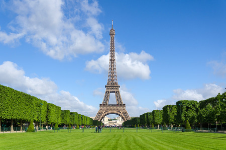 Eiffel Tower with blue sky in Paris, France.