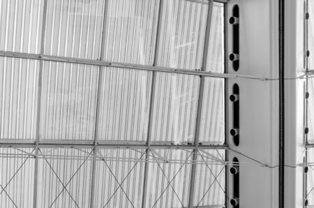steel structure: Roof Structure Detail of Modern Architecture (Black and White)