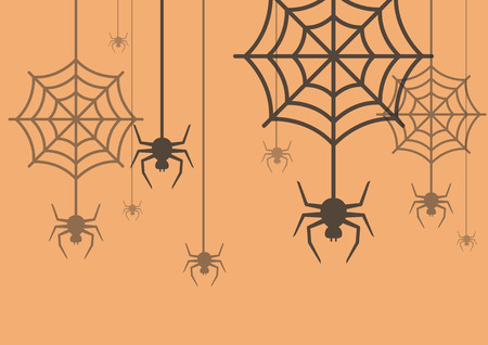 arachnophobia: Halloween background Spider with Cobweb. Vector Illustration