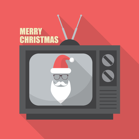 retro tv: Mustache and Glasses of Santa in Retro Television. Merry Christmas Greeting Card