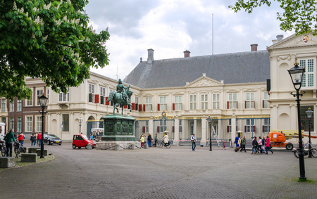 'the hague': The Hague, Netherlands - May 8, 2015: People visit Noordeinde Palace, the Hague, Netherlands. Hague is the capital of the province South Netherlands.