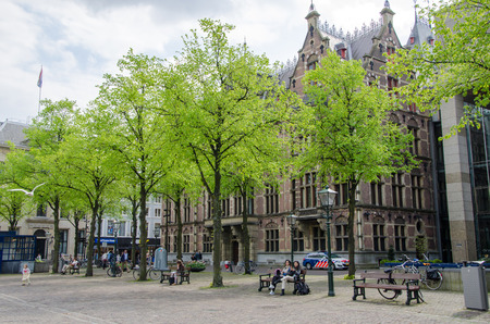 plein: The Hague, Netherlands - May 8, 2015: People at Het Plein in center of The Hague, Netherlands on May 8, 2015.