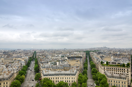 elysees: View of the Champs Elysees with montmartre in the background, Paris, France