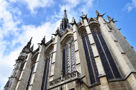 cite: Exterior of Sainte-Chapelle (The Holy Chapel) on the Cite island in the heart of Paris, France.