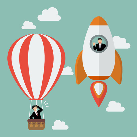 business competition: Businessman on a rocket fly pass Businessman in hot air balloon. Business competition concept Illustration