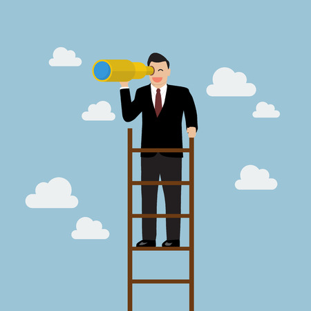 Businessman search in business strategy on the ladder. Business concept Çizim