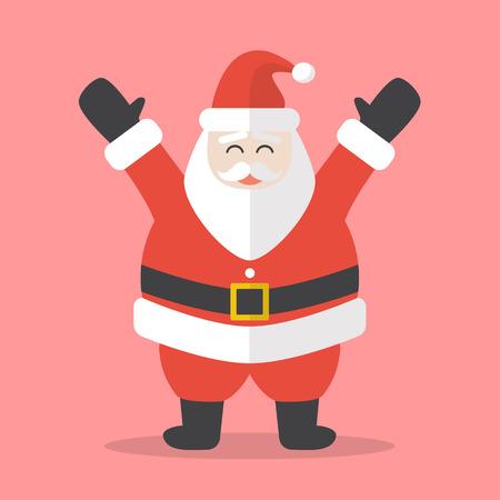 Illustration of Happy Santa Claus. Flat style design 일러스트