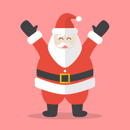 Illustration of Happy Santa Claus. Flat style design 向量圖像