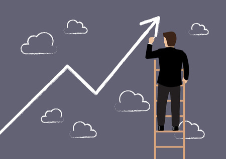 ladder: Business man standing on ladder drawing growth chart. Business concept