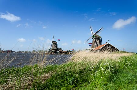 schans: Wind mill of Zaanse Schans in The Netherlands