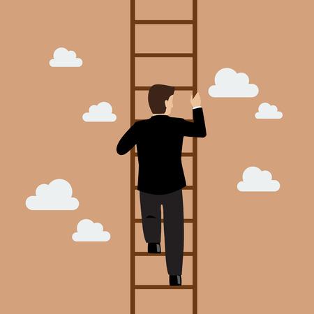 escalada: Empresario subiendo por la escalera. Concepto de negocio