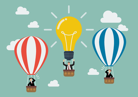 competitor: Businessman in lightbulb balloon fly pass his competitor. Business idea concept