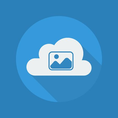 moutain: Cloud Computing Flat Icon With Long Shadow. Photos