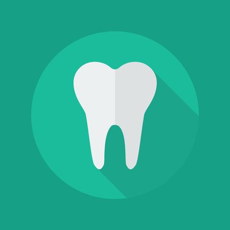 dientes sanos: Icono plana médico con una larga sombra. Símbolo de Odontología