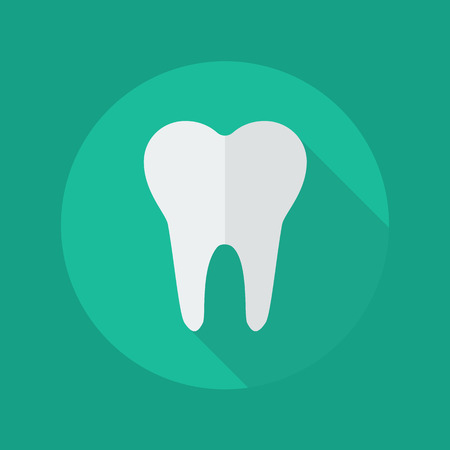 tooth icon: Medical Flat Icon With Long Shadow. Dentistry symbol