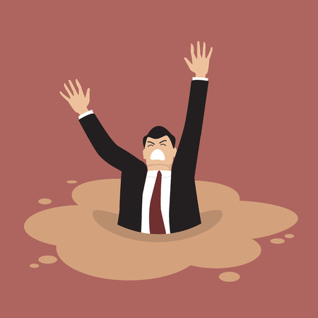 Businessman sinking in a puddle of quicksand. Business concept Иллюстрация