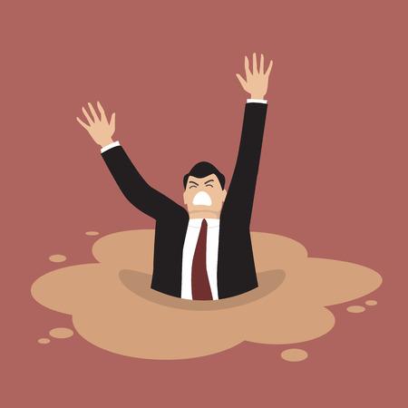 Homme d'affaires sombrer dans une flaque de sables mouvants. Business concept