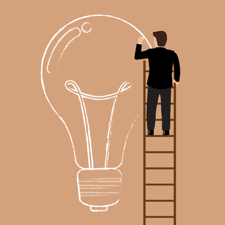 climbing ladder: Businessman on the ladder drawing lightbulb idea. Business idea concept Illustration