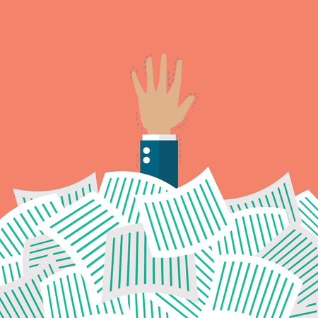 Businessman under a lot of documents. Overwork concept