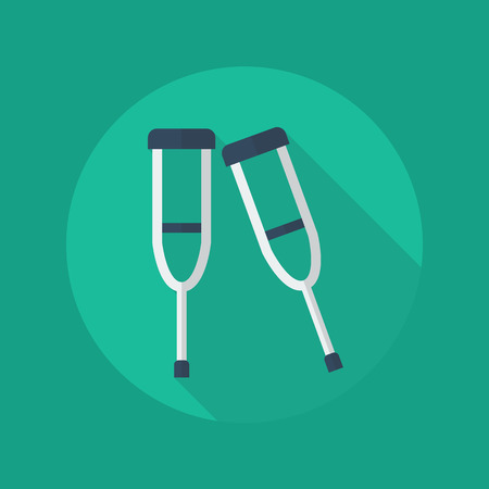 geriatrics: Medical Flat Icon With Long Shadow. Crutches Illustration