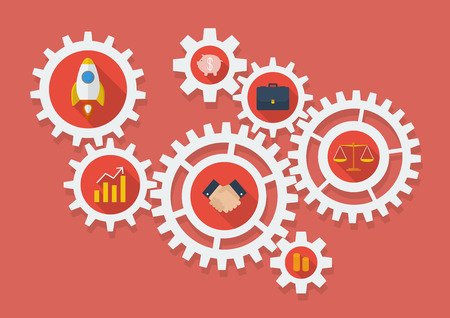 Business Icons in Gears. Vector Illustration Illustration