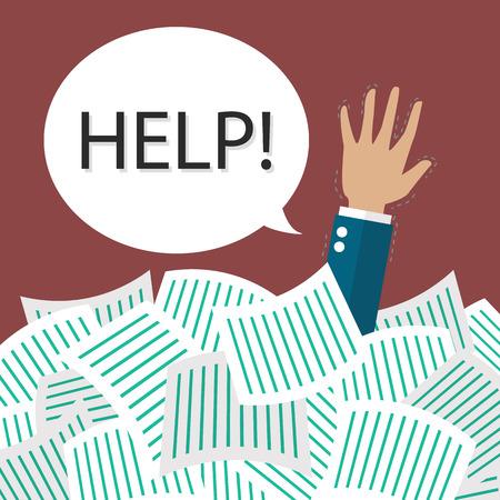 overwork: Businessman need help under a lot of documents. Overwork concept