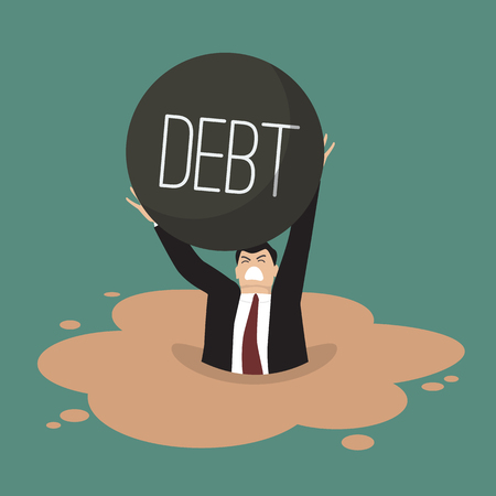 quicksand: Businessman with heavy debt sinking in a quicksand. Business concept Illustration