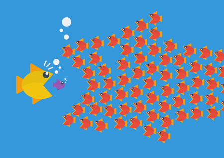 big fish: Little fish eat big fish. Business teamwork concept
