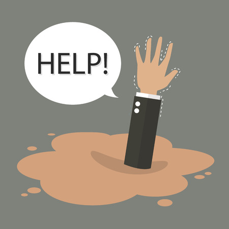 quicksand: Businessman hand sinking in a puddle of quicksand. Business concept Illustration