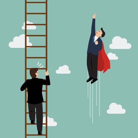 Businessman superhero fly pass businessman climbing the ladder. Business competition concept 向量圖像