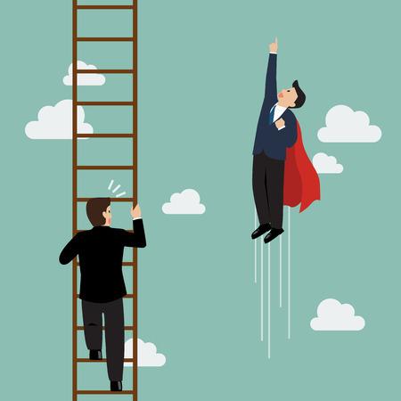 Businessman superhero fly pass businessman climbing the ladder. Business competition concept Ilustração
