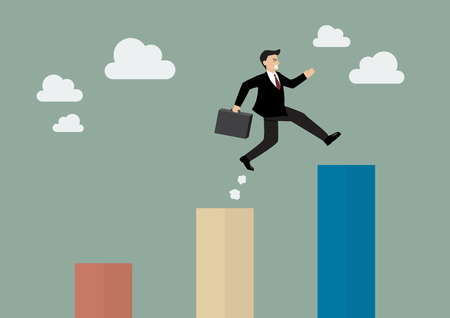businessman jumping: Businessman jumping up to a higher bar chart. Business concept Illustration