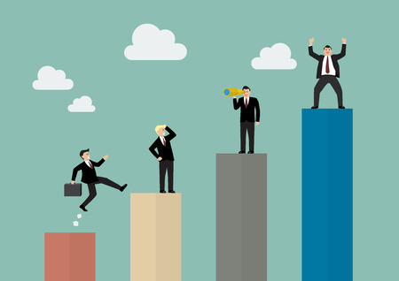 active: Bar graph with businessmen in various activity. Business concept Illustration