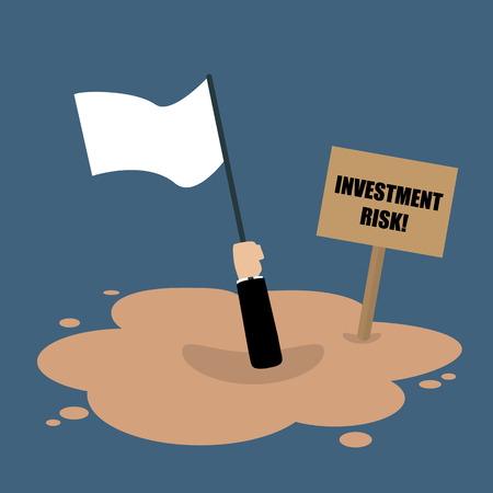 quicksand: Businessman holds white flag sinking in a quicksand. Investment risk concept
