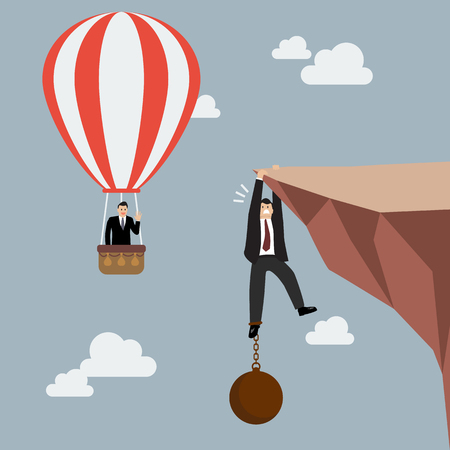 ball and chain: Businessman in hot air balloon fly pass businessman hold on the cliff with burden. Business concept
