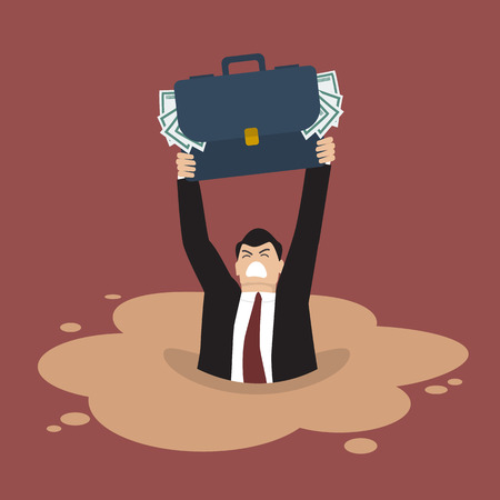 quicksand: Businessman with briefcase full of money sinking in a quicksand. Business concept