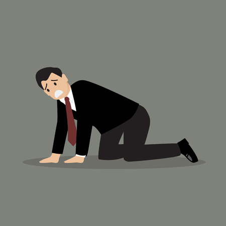 unfortunate: Desperate businessman. Vector Illustration