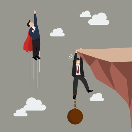 burden: Businessman superhero fly pass businessman hold on the cliff with burden. Business concept